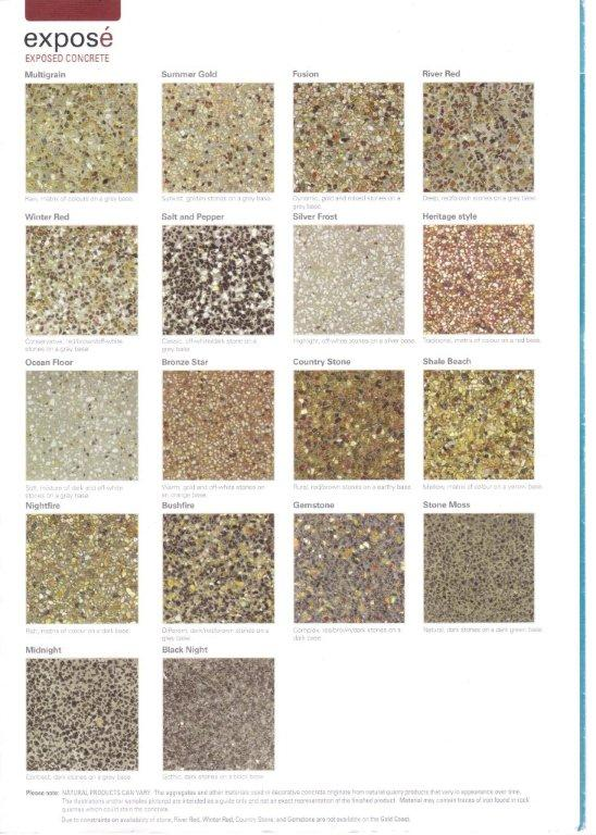 Exposed aggregate colour chart | baxter's concreting.